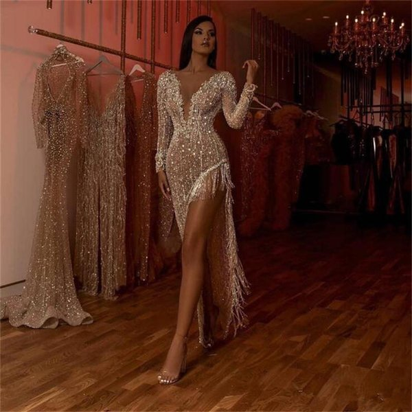 Champagne atractivas con cuentas de cristal de la sirena de los vestidos de noche de lujo de manga larga de alta división de baile vestido con borlas 2020 vestido formal del cóctel