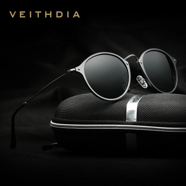 Veithdia Marka Tasarımcısı Moda Yuvarlak Unisex Güneş Gözlükleri Polarize Kaplama Ayna Güneş Gözlüğü Erkek Gözlük Erkek / kadın 6358 Y19052001