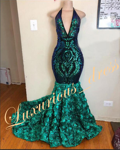 New Arrival African Black Girl Mermaid Prom Dresses Long 2019 Sexy Sequin Top Deep V-neck Backless 3D Flowers Green Evening Dresses