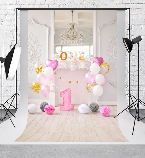 Kate Sweet 1st Birthday Party Photography Backdrops Colorful Balloons Background Retro Wood Plank Backgrounds for Photography