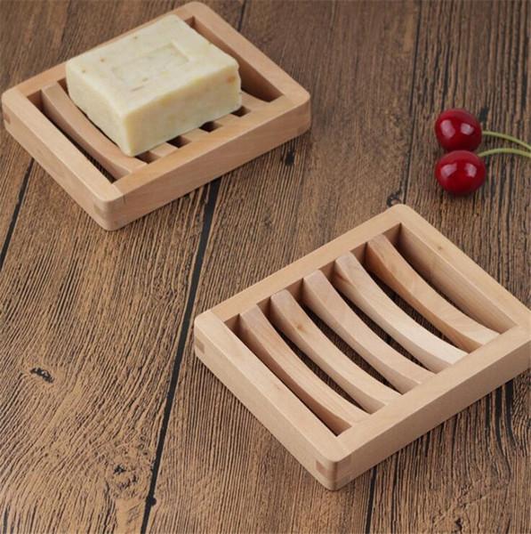 jabón de madera natural de soporte de la bandeja plato de jabón de almacenamiento en rack cajas de placas recipiente para baño baño de plato de ducha