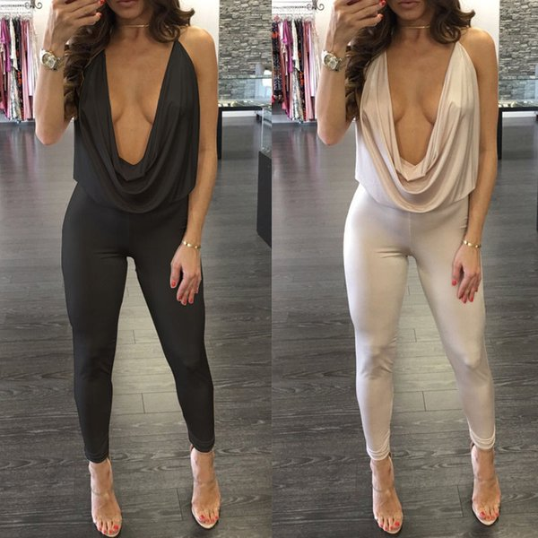 Sexy Women Ladies Off Shoulder Playsuit Bodycon Bandage Skinny Slim Deep V Neck Party Jumpsuit Romper Long Pants Trousers
