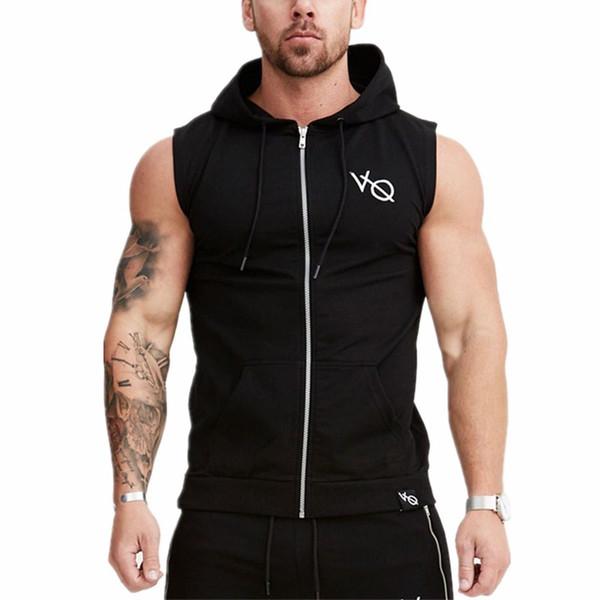 New Mens Sleeveless Sweatshirt Hoodies Top Clothing Hooded Tank Top Sporting Hooded for Men Cotton Solid hoodies