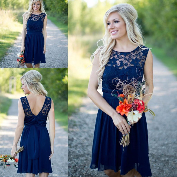 top popular 2020 Short Cheap Lace Chiffon Bridesmaid Dresses with Jewel and Sash Custom Made Dress for Wedding 2021