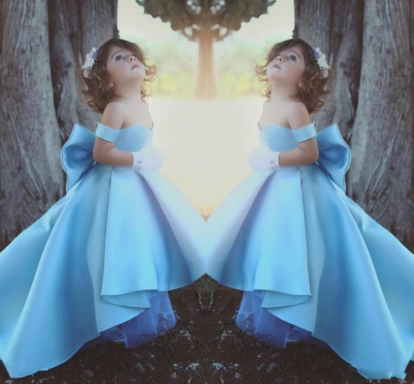 Toddler Blue Organza Flower Girls Cupcake Pageant Dresses Glitz Prom Infant Ball Gowns Party Dresses