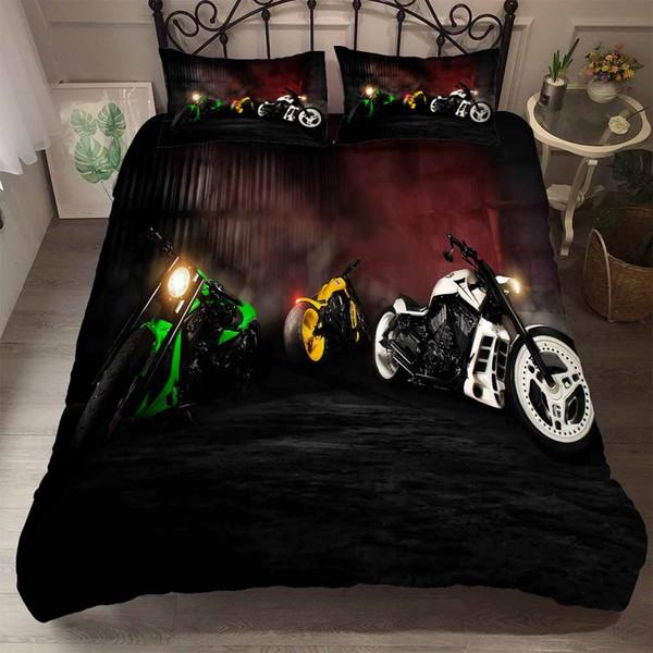 Yi Chu Xin 3d Motorrad Bettwäsche-Sets Luxus Kinder Bettbezug und Kissenbezug twin / queen full size Bett gesetzt