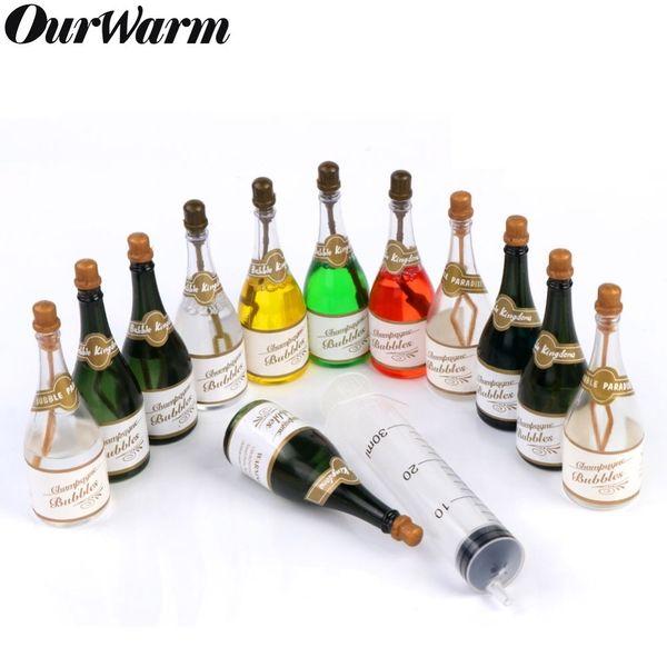 OurWarm Mini Champagne Bottle Soap Water Bubbles Bottle Green Transparent Bottles Decor Birthday Wedding Party Favors 24/48pcs SH190913