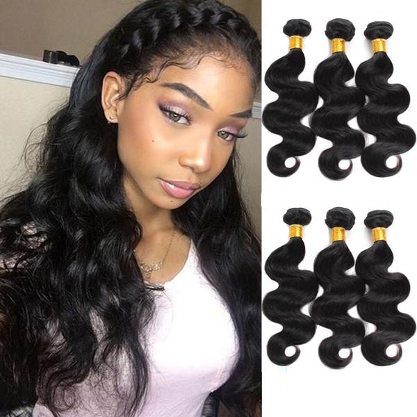 Aichen hair 3 bundles wave color 1B negro brasileño Armadura de cabello bundles body wave bundles 100% cabello humano gran inventario mayorista