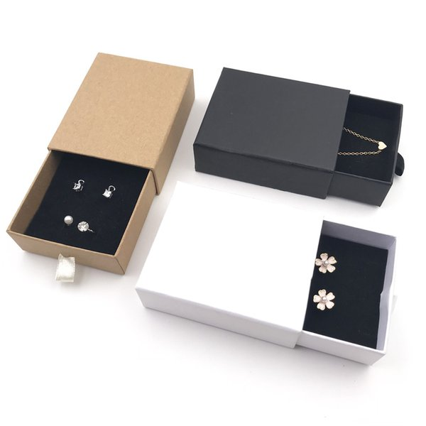 7x9x3cm 10pcs/lot Brown Kraft Paper Necklace Drawer Box And Packaging Earring Ring For Jewellery Black White Cardboard Boxes