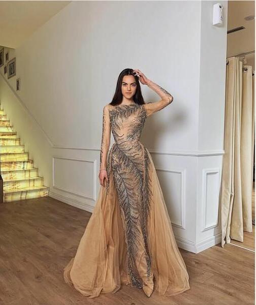 Evening dress Yousef aljasmi Labourjoisie Zuhair murad James_paul2 A-Line Long Sleeve Jewel Nude Tulle Sequins Crystal Illusion Long Dress