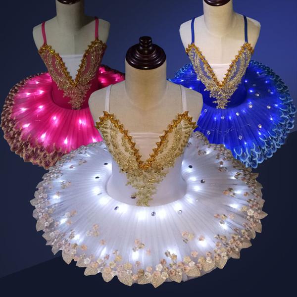 Childkids Tutu Vestido Luminoso LED Ballet Danza Pancake Swan Lake Vestido Adulto Mujeres Chicas Fluorescente Pompon Traje de Baile H639
