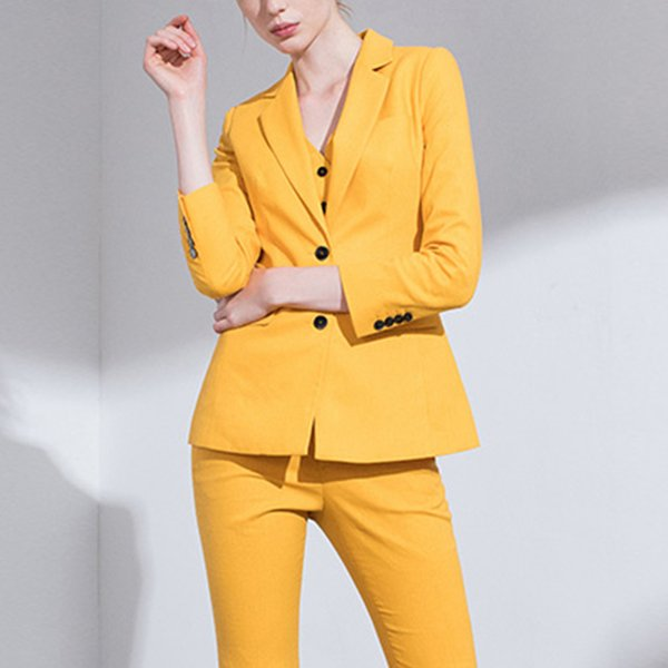 Bright Yellow Mother of the Bride Pant Suits Slim Fit Women Business Suits Tuxedo Blazer For Wedding(Jacket+Vest+Pants)