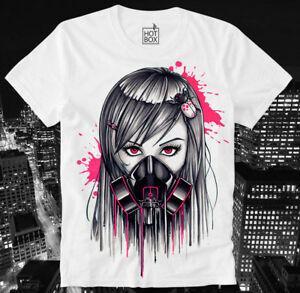 Hotbox Camiseta Cyber Punk Cyber Goth Gas Mask Gasmask Girl Japón Anime Manga HBA