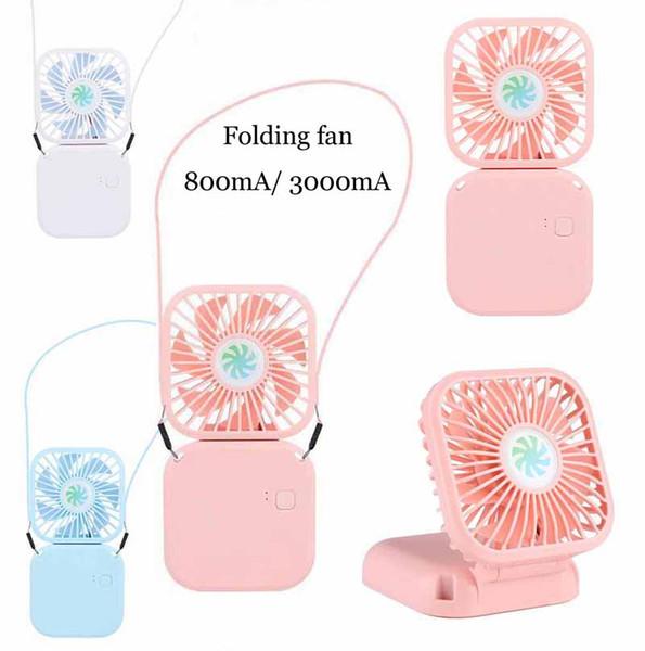 top popular Folding mini Fan Portable USB Charging Silent hanging neck fan folding desk fan sports Travel Camping Cooling Fans 2021