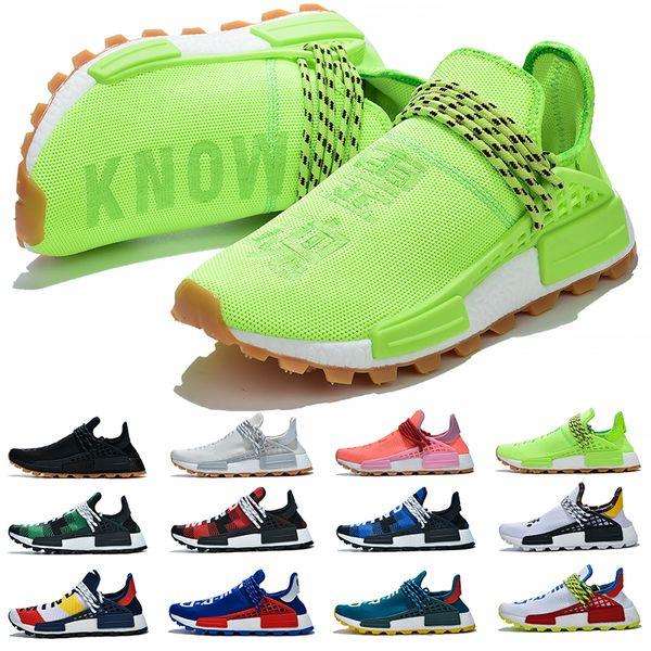 Pas cher NMD Race humaine Chaussures de course Hommes Femmes Pharrell Williams HU Runner Jaune Noir Blanc Rouge Vert Gris Bleu Sport Sneaker Taille 36-47
