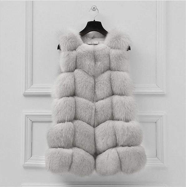 LEDEDAZ Royal Blue Sleeveless Faux Fur Jacket Coat Moda Primavera Autunno Ladies Long Faux Fur Vest 3XL