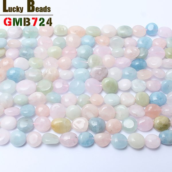 beads for jewelry making 8-10mm irregular natural genuine morganite stone beads for jewelry making 15inches free shipping