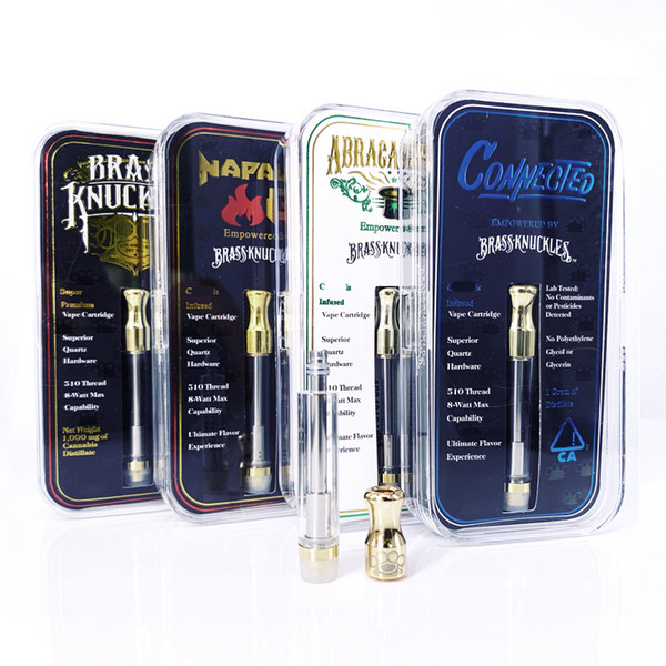 Brass Knuckles Cartridges With Flavor Stickers Acrylic packaging box Cotton Coil 1.0ml Pyrex Glass Tank with hologram