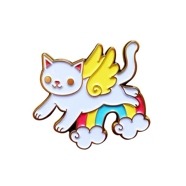 Fliegenkatze auf Regenbogenwolken-Stiftausweis