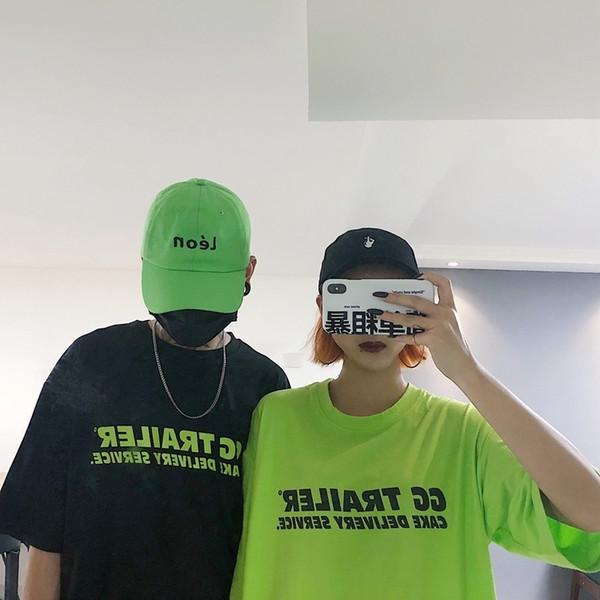 Harajuku Streetwear Mulheres Camiseta Verão Top Verão Coreano Ulzzang Fluorescente Letras Verdes Impresso T-shirt de Manga Curta Feminina T Y19051301