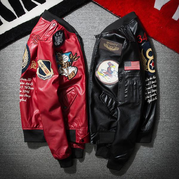Herbst und Winter Stickerei Baseball-Uniformen für Männer und Frauen Paare Pilot Lederjacke PU-Lederjacke