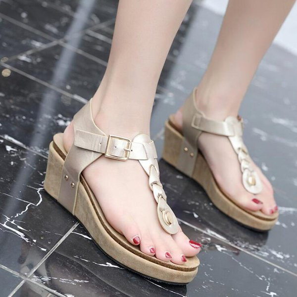 Women Platform Sandals Wedges Shoes for Women Heels Summer Flip Flops Leather Wedge Heels Sandals T-strap Sandalias Mujer