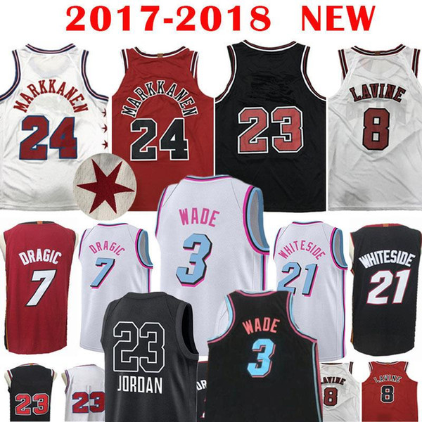 new product cd48e 6aed0 2018 3 Dwyane Wade 7 Goran Dragic #21 Hassan Whiteside Jersey Chicago Bulls  23 Michael 8 Zach LaVine 24 Lauri Markkanen Miami Heats 34 Carter Jr. From  ...