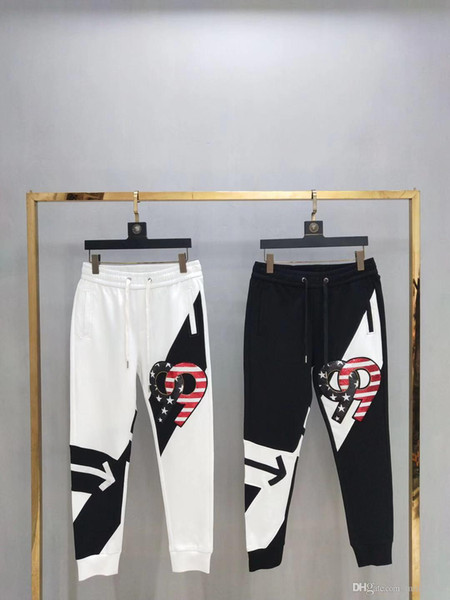 19 autumn and winter new trousers cotton fabric beaded embroidery color matching two men and women with M L XL XXL