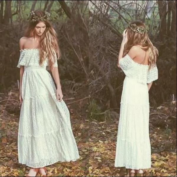Bohemian White Off Shoulder Prom Dresses Short Sleeves Sexy Back Zipper Full Lace Evening Dresses Ankle Length Vintage Country Style Gowns