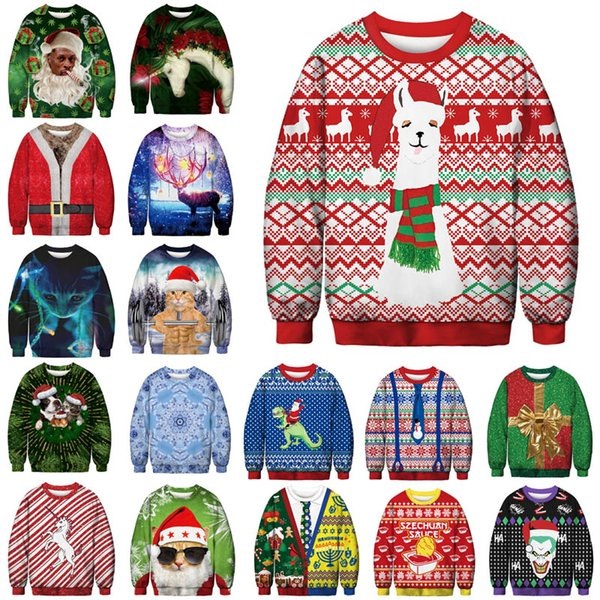 2019 Unisex Men Women 2019 Ugly Christmas Sweater Vacation Santa Elf Funny  Christmas Fake Hair Jumper Autumn Winter Tops Clothing Y191021 From