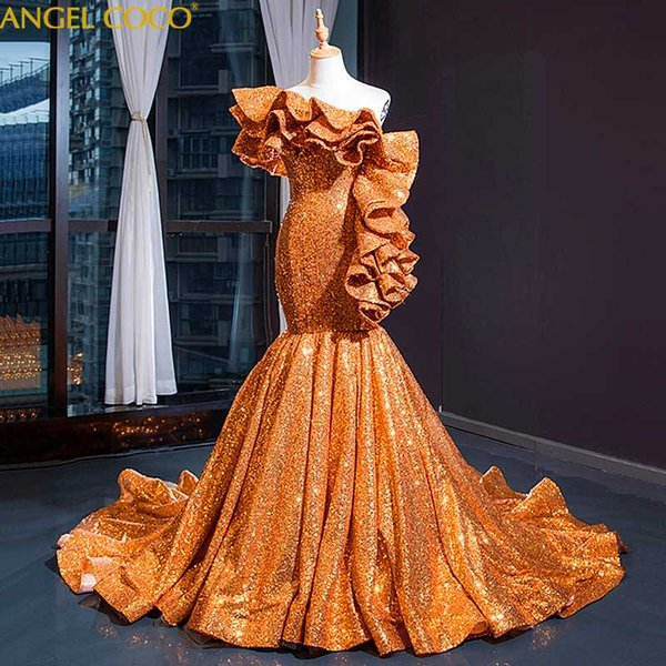 Royal Gold Sequins Mermaid Evening Dress 2019 New Sexy Robe De Soiree Longue 2018 Abendkleider Dubai Luxury Evening Gowns