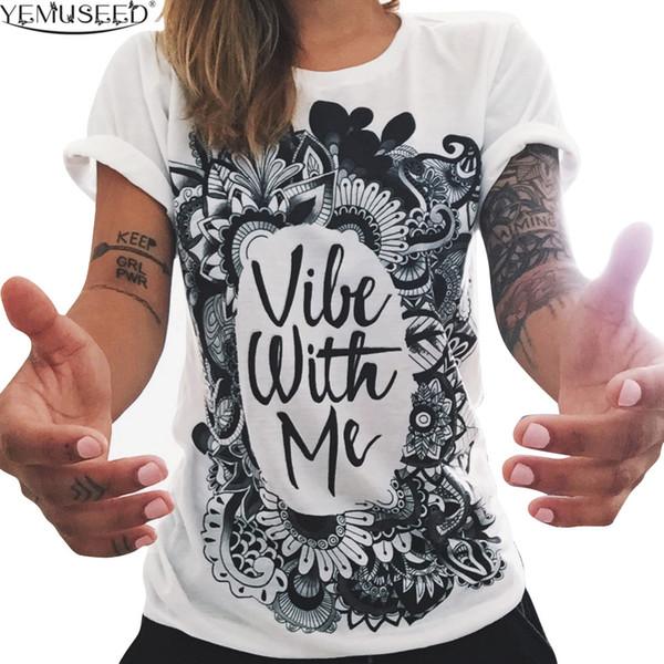 Women's Tee European T Shirt Summer Women 2016 Vibe With Me Print Punk Rock Fashion Graphic Tees Women Designer Clothing Wmt256