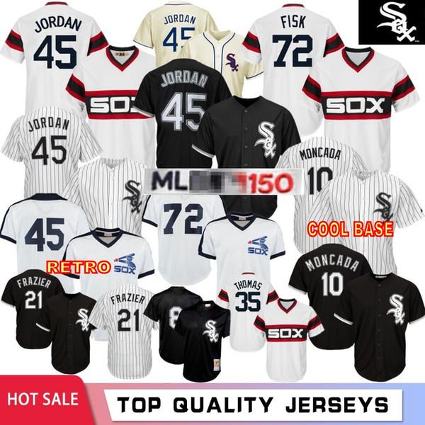 7 Tim Anderson 45 Michael Mens di baseball Chicago White maglie 72 Fisk 35 Frank Thomas 79 Jose Abreu 10 Yoan Moncada 8 Bo Jackson Sox