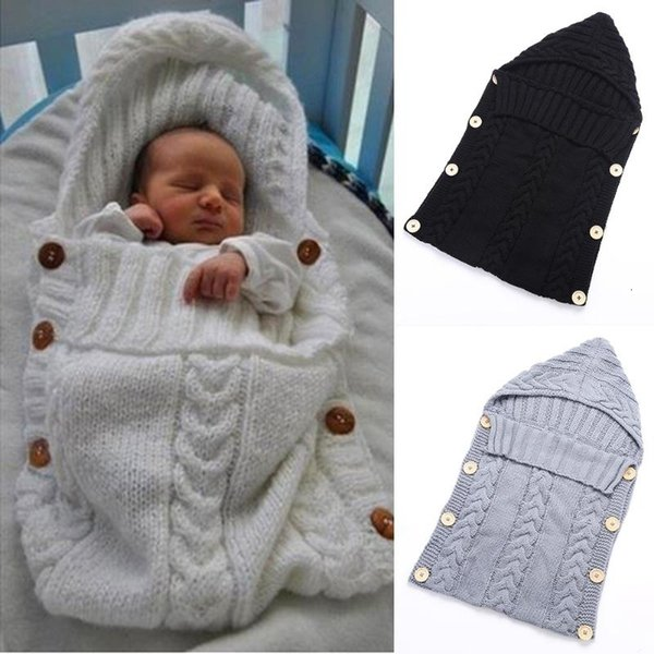 Baby Infant Swaddle Wrap Warm Wool Blends Crochet Knitted Hoodie Soft Swaddling Wrap Blanket Sleeping Bag for 7 ColorsMX190910