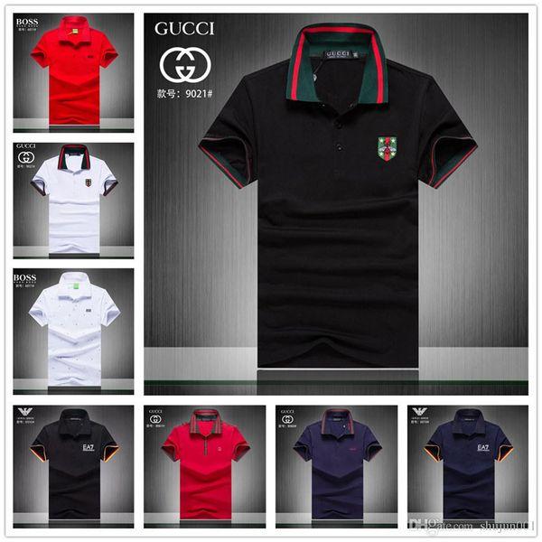 Marke Hot Cotton Striped Polo Shirts Umlegekragen Shorts Ärmel Hemd Heiße Verkäufe Rot Blau Braun Herren Polo-Shirts