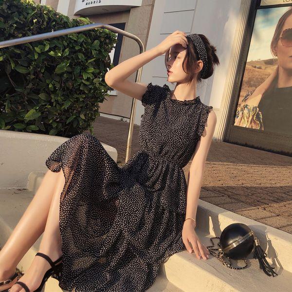 Mishow Chiffon Polka Dot Kleid Frauen Sommer Midi Verbandkleid Casual Sommerkleid Frauen Boho Beach MX18B1178