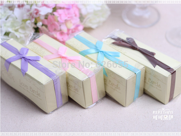 wedding favor gift-- Ceramic Love Birds Salt and Pepper Shaker party souvenir 7 Kind of ribbon can choose 60pieces=30 sets