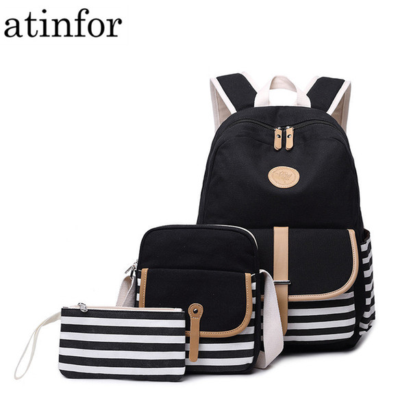 3pcs / set Canvas Fringe Women Backpack Student Book Bag with Purse Laptop College Bagpack Female School Bag for Teenager