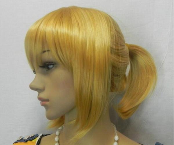 WIG envío gratis alta calidad hermosa moda estilo dos coletas oro anime japonés peluca