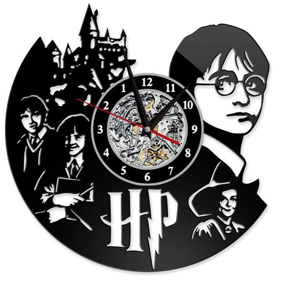 top popular Harry Potter Clock Theme Art CD Record Clocks Vinyl Record Antique LED Wall Hanging Clock Black Hollow Home Decor Clocks GGA2656 2019