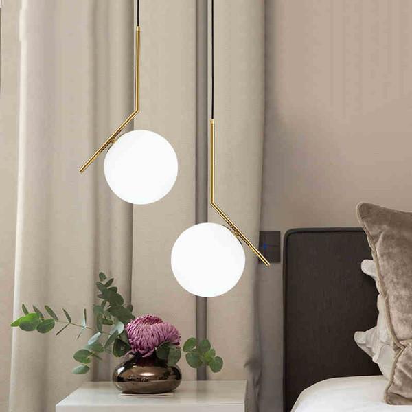 Creative Pendant Light Living Room Bedside Restaurant Single Head Iron Milk White Glass Ball hanging lamp