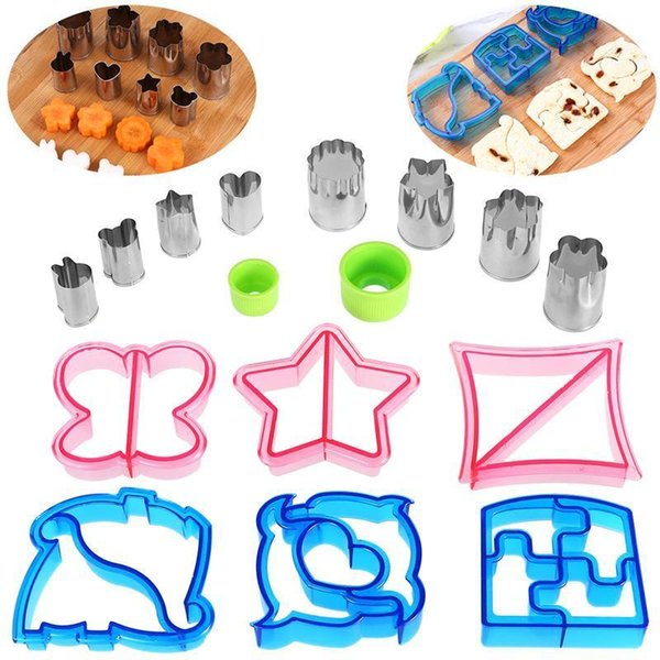 Sandwich Cutters Set 8pcs Stainless Steel Vegetable Molds And 6pcs Plastic Bread Cutters And 2pcs Handles J190722