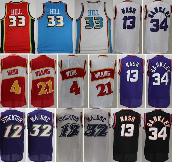 NCAA Steve Nash Trikot Charles Barkley Dominique Wilkins Spud Webb John Stockton Karl Malone Grant Hill Basketballhemd Mann Blau Lila