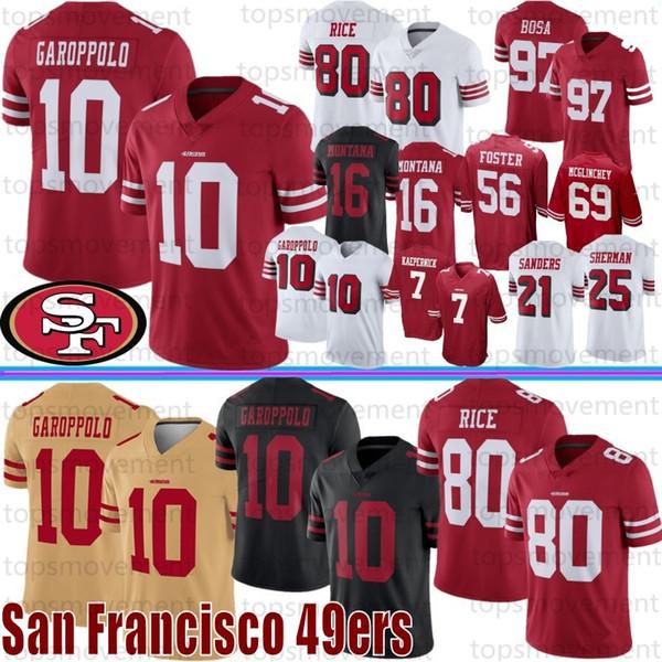 10 Jimmy Garoppolo San Francisco masculinas Equipamentos 80 Jerry Rice 7 Colin Kaepernick McGlinchey 49er 56 Reuben Foster 16 Joe Montana 97 Bosa