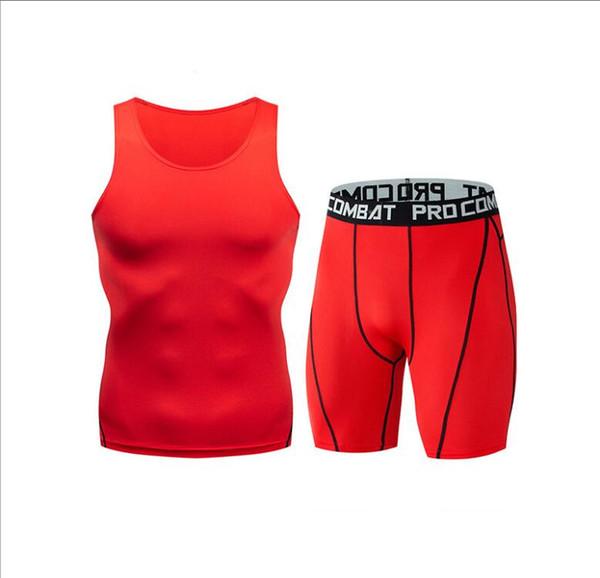 Men's sports suit vest shorts stretch quick-drying t-shirt gym pro fitness vest suit compression running clothing wholesale
