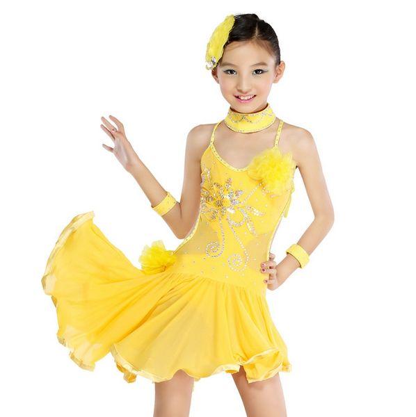 2016 желтый / черный девушка стандартный конкурс латинские танцы платье дети асимметричные сальса юбки 4-15Y дети алмаз сексуальный костюм