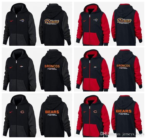 Novo Tipo de Roupas de Guarda de 2019 preto e vermelho Denver Los Angeles Chicago Detroit Ursos Rams Lions Broncos camisola do hoodie