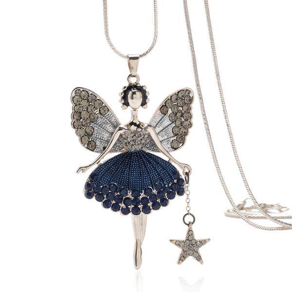 Compre Europeus E Americanos Moda Dos Desenhos Animados Menina Bonito Pendurado Asas De Anjo Com Colar De Diamantes Jóia Nova De Yangxian520 368