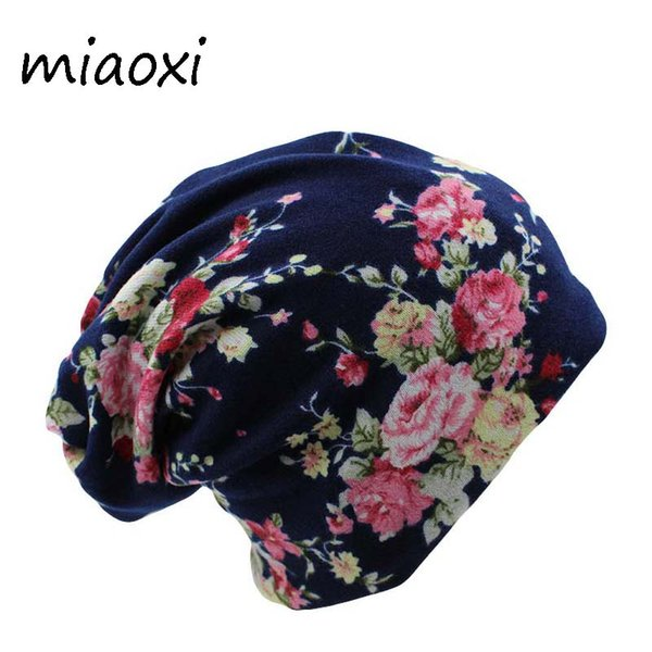 miaoxi Surprise Price New Fashion 2 Used Women Flower Hat Scarf Knit Autumn Caps 4 Colors Casual Beanies Skullies Solid Bonnet S18120302