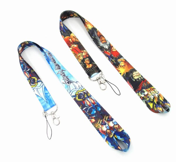 HOT! 50pcs Classic cartoon Kingdom Hearts Lanyard Neck Straps Cell Phone Rope ID Card Keychain Pendant Fashion gifts can choose style